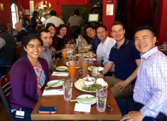 Group of lab members at lunch